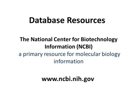 The National Center for Biotechnology Information (NCBI) a primary resource for molecular biology information www.ncbi.nih.gov Database Resources.