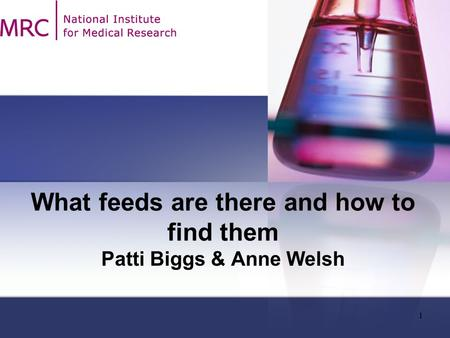 1 What feeds are there and how to find them Patti Biggs & Anne Welsh.