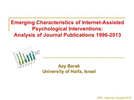 Emerging Characteristics of Internet-Assisted Psychological Interventions: Analysis of Journal Publications 1996-2013 Azy Barak University of Haifa, Israel.
