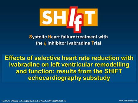 Effects of selective heart rate reduction with ivabradine on left ventricular remodelling and function: results from the SHIFT echocardiography substudy.