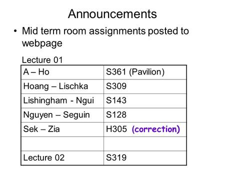 Announcements Mid term room assignments posted to webpage A – HoS361 (Pavilion) Hoang – LischkaS309 Lishingham - NguiS143 Nguyen – SeguinS128 Sek – Zia.