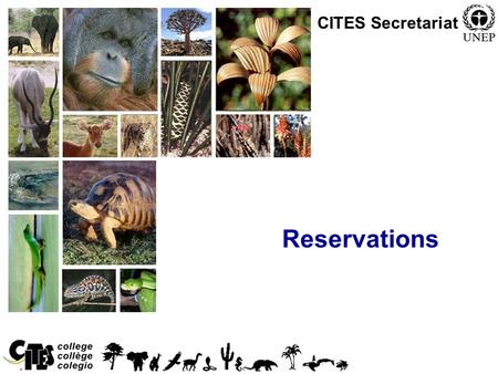 1 Reservations CITES Secretariat. 2 Reservations Any Party can make a specific reservation with respect to: –Any species listed in Appendix I or II (within.