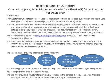 DRAFT GUIDANCE CONSULTATION Criteria for applying for an Education and Health Care Plan (EHCP) for pupils on the Autism Spectrum Introduction: From September.