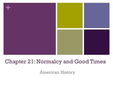 + Chapter 21: Normalcy and Good Times American History.