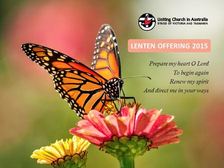 Prepare my heart O Lord To begin again Renew my spirit And direct me in your ways LENTEN OFFERING 2015.