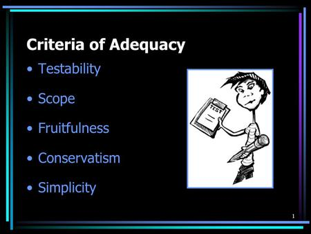 Criteria of Adequacy Testability Scope Fruitfulness Conservatism