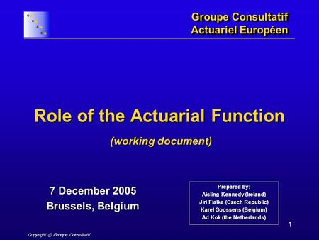 Copyright ⓒ Groupe Consultatif 1 Role of the Actuarial Function Groupe Consultatif Actuariel Européen 7 December 2005 Brussels, Belgium (working document)