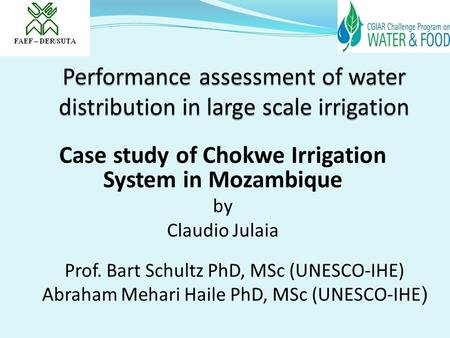 Performance assessment of water distribution in large scale irrigation