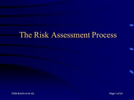 TMS-RA04-A-01-02Page 1 of 20 The Risk Assessment Process.