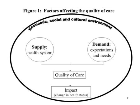 1 Figure 1: Factors affecting the quality of care Impact (change in health status) Quality of Care Supply: health system Demand: expectations and needs.
