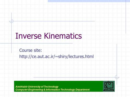 Inverse Kinematics Course site:
