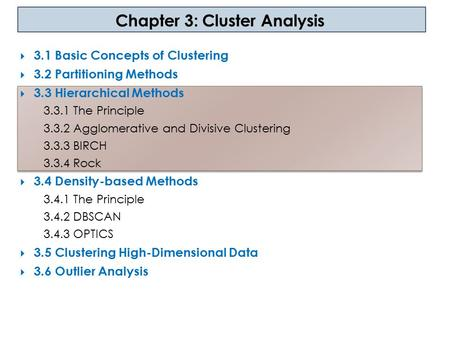 Chapter 3: Cluster Analysis  3.1 Basic Concepts of Clustering  3.2 Partitioning Methods  3.3 Hierarchical Methods 3.3.1 The Principle 3.3.2 Agglomerative.