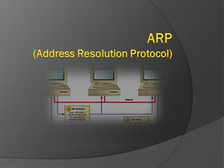  As defined in RFC 826 ARP consists of the following messages ■ ARP Request ■ ARP Reply.