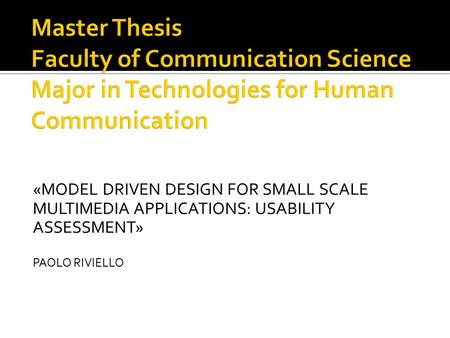 usability masters thesis University of central florida electronic theses and dissertations masters thesis (open access) only screen deep evaluating aesthetics, usability.