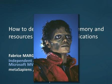 11 How to detect and avoid memory and resources leaks in.NET applications Fabrice MARGUERIE Independent.NET expert Microsoft MVP metaSapiens / Tuneo.