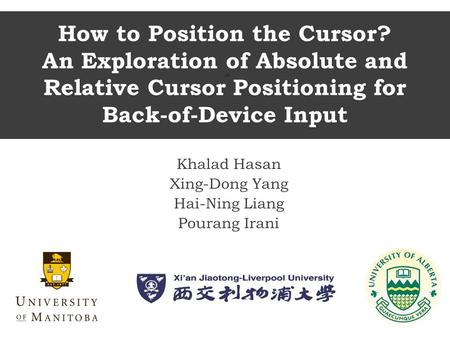 How to Position the Cursor? An Exploration of Absolute and Relative Cursor Positioning for Back-of-Device Input Khalad Hasan Xing-Dong Yang Hai-Ning Liang.