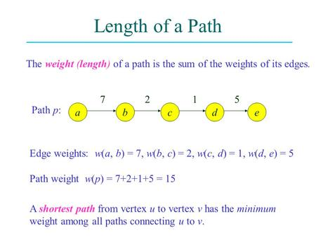 Length of a Path The weight (length) of a path is the sum of the weights of its edges. adcbe Path p: 7 2 1 5 Edge weights: w(a, b) = 7, w(b, c) = 2, w(c,