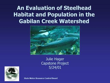 An Evaluation of Steelhead Habitat and Population in the Gabilan Creek Watershed Julie Hager Capstone Project 5/24/01 State Water Resource Control Board.