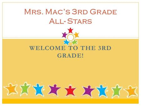 WELCOME TO THE 3RD GRADE! Mrs. Mac's 3rd Grade All- Stars.