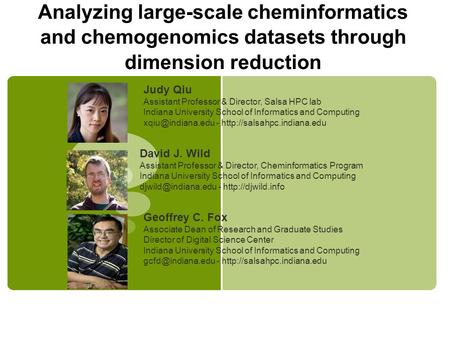 Analyzing large-scale cheminformatics and chemogenomics datasets through dimension reduction David J. Wild Assistant Professor & Director, Cheminformatics.