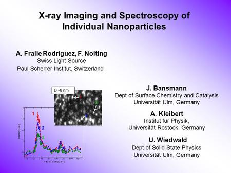 X-ray Imaging and Spectroscopy of Individual Nanoparticles A. Fraile Rodríguez, F. Nolting Swiss Light Source Paul Scherrer Institut, Switzerland J. Bansmann.