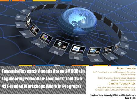 Toward a Research Agenda Around MOOCs in Engineering Education: Feedback from Two NSF-funded Workshops (Work in Progress) San Jose State University MOOCs.