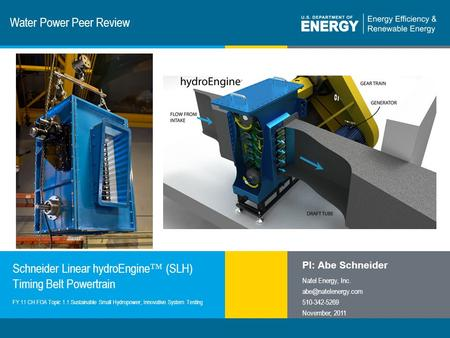 1 | Program Name or Ancillary Texteere.energy.gov Water Power Peer Review Schneider Linear hydroEngine ™ (SLH) Timing Belt Powertrain PI: Abe Schneider.