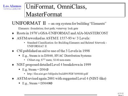 "Los Alamos NATIONAL LABORATORY 6/25/02, Sheet 1 UniFormat, OmniClass, MasterFormat UNIFORMAT II -- an org system for building ""Elements"" Elements: foundation;"