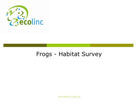 Frogs - Habitat Survey www.ecolinc.vic.edu.au. Habitat survey  Why conduct a habitat survey? To understand the condition and quality of a waterway 