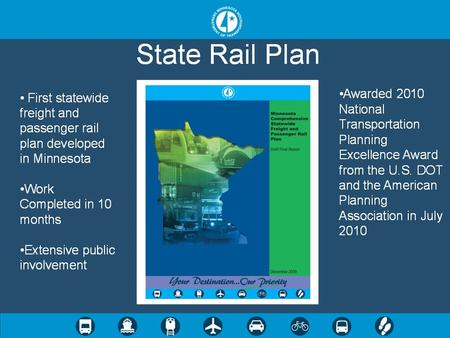First Statewide Comprehensive Rail Plan for MN Commissioned by 2008 Legislature Compliant with 2008 PRIIA Federal Rules 6 Months to prepare, 10 Months.