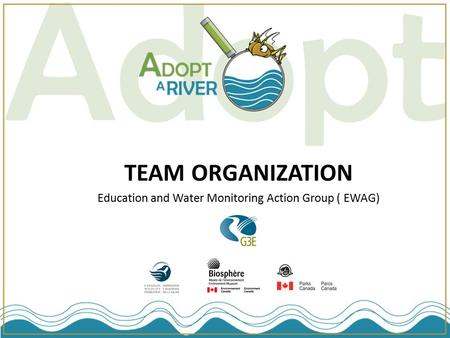 TEAM ORGANIZATION Education and Water Monitoring Action Group ( EWAG)