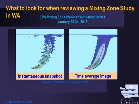 Instantaneous snapshot Time average image Based on: Phil Roberts, Georgia Tech, 2003 What to look for when reviewing a Mixing Zone Study in WA EPA Mixing.