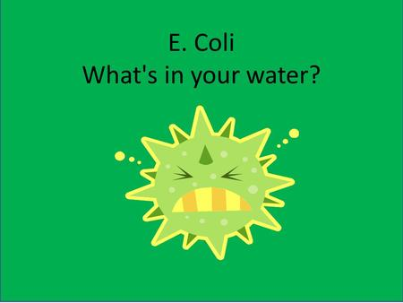 E. Coli What's in your water?. Have you ever wondered what is in your water?