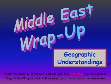 Geographic Understandings To play the game, go to the next slide and click on a point value to go to a question. To go to final Wrap-Up click on Final.