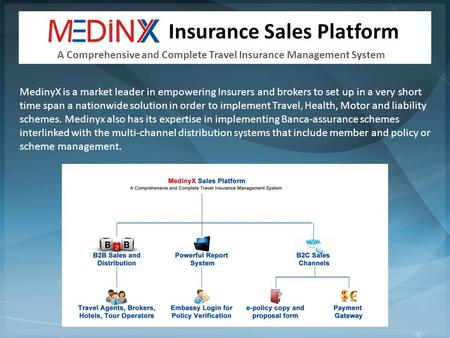 Insurance Sales Platform MedinyX is a market leader in empowering Insurers and brokers to set up in a very short time span a nationwide solution in order.