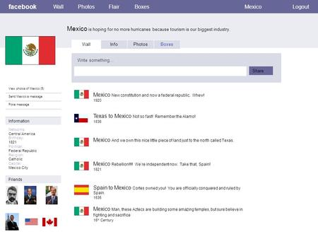 Facebook Mexico is hoping for no more hurricanes because tourism is our biggest industry. WallPhotosFlairBoxesMexicoLogout View photos of Mexico (5) Send.