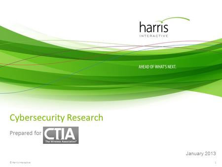 1 Cybersecurity Research Prepared for © Harris Interactive January 2013.