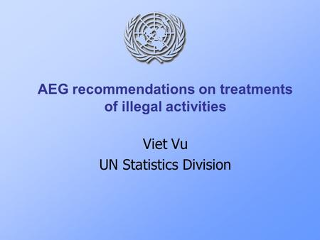 AEG recommendations on treatments of illegal activities Viet Vu UN Statistics Division.