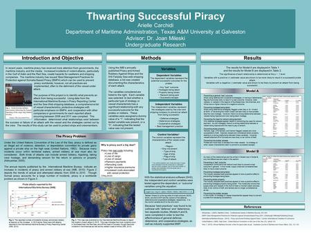 Thwarting Successful Piracy Arielle Carchidi Department of Maritime Administration, Texas A&M University at Galveston Advisor: Dr. Joan Mileski Undergraduate.