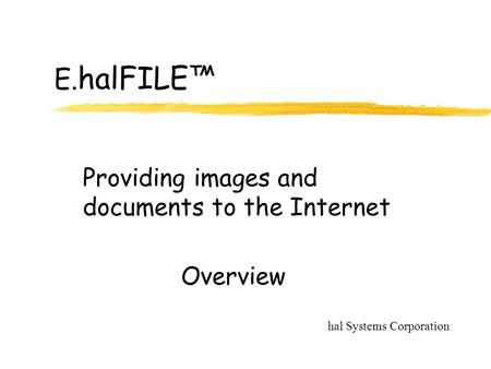 E. halFILE™ Providing images and documents to the Internet hal Systems Corporation Overview.