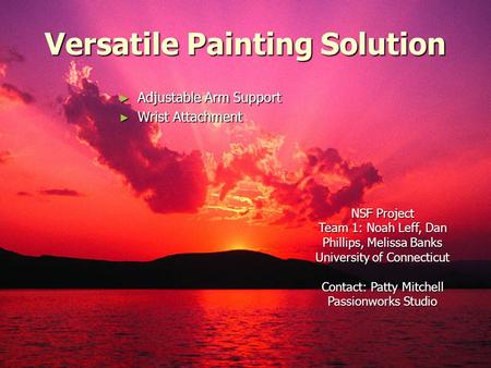 Versatile Painting Solution ► Adjustable Arm Support ► Wrist Attachment NSF Project Team 1: Noah Leff, Dan Phillips, Melissa Banks University of Connecticut.