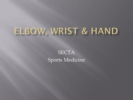SECTA Sports Medicine.  Bones  humerus  ulna  radius  Ligaments  ulnar collateral lig.  annular lig.  radial collateral lig.