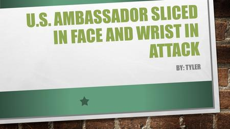 U.S. AMBASSADOR SLICED IN FACE AND WRIST IN ATTACK BY: TYLER.