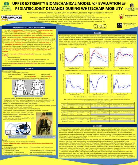 UPPER EXTREMITY BIOMECHANICAL MODEL FOR EVALUATION OF PEDIATRIC JOINT DEMANDS DURING WHEELCHAIR MOBILITY Alyssa Paul 1-2, Brooke A. Slavens 2-4, Adam Graf.