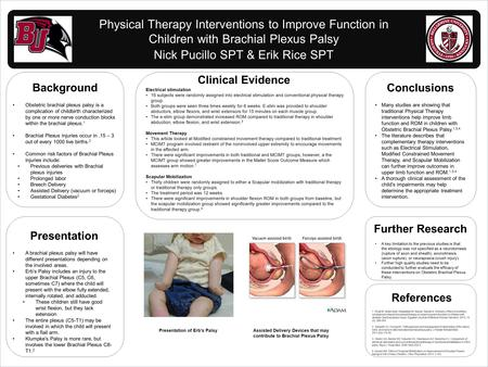 Www.postersession.com Physical Therapy Interventions to Improve Function in Children with Brachial Plexus Palsy Nick Pucillo SPT & Erik Rice SPT Background.