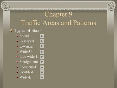 Chapter 9 Traffic Areas and Patterns Types of Stairs Spiral U-shaped L-winder Wide-U L or wide-L Straight run Long-run-L Double-L Wide-L.