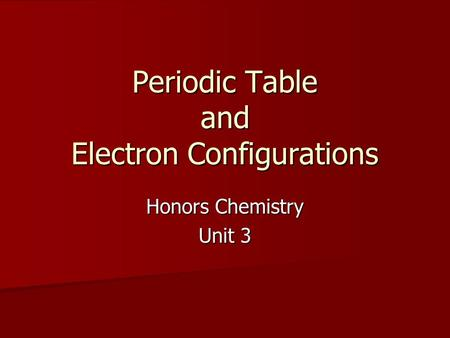 Periodic Table and Electron Configurations Honors Chemistry Unit 3.