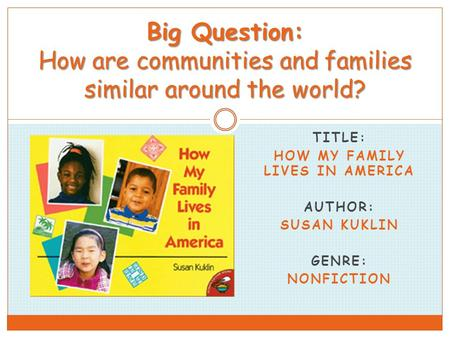 TITLE: HOW MY FAMILY LIVES IN AMERICA AUTHOR: SUSAN KUKLIN GENRE: NONFICTION Big Question: How are communities and families similar around the world?