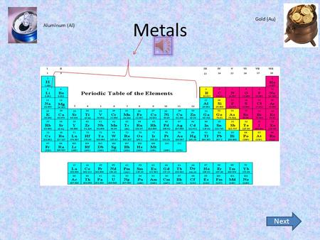 Metals Next Aluminum (Al) Gold (Au) Metals are on the left side of the periodic table. They are malleable (can be pounded or rolled into sheets without.