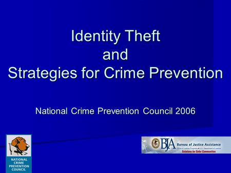 Identity Theft and Strategies for Crime Prevention National Crime Prevention Council 2006.